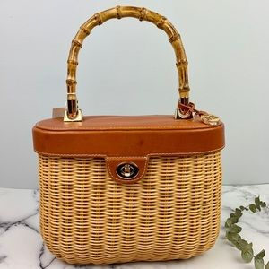 J. McLaughlin Ava Wicker Sachel with Bamboo Handle